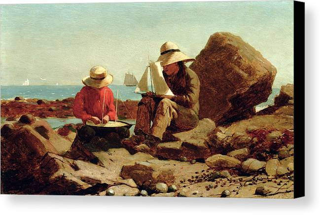 Builder Canvas Print featuring the painting The Boat Builders by Winslow Homer