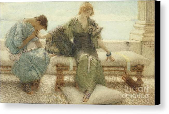 Ask Canvas Print featuring the painting Ask Me No More....for At A Touch I Yield by Sir Lawrence Alma-Tadema