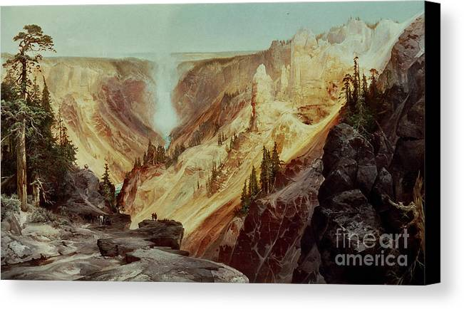The Grand Canyon Of The Yellowstone Canvas Print featuring the painting The Grand Canyon Of The Yellowstone by Thomas Moran