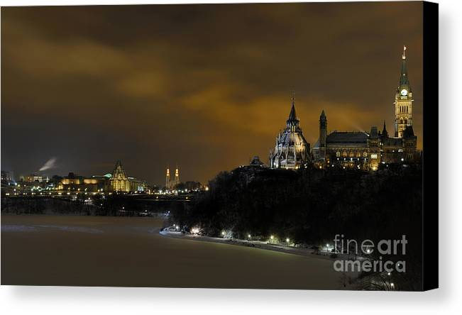 Night Canvas Print featuring the photograph Golden Night... by Nina Stavlund