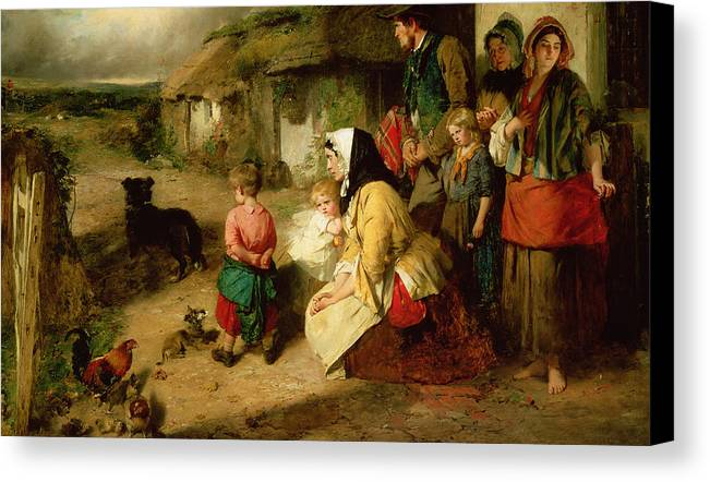 Leaving Home Canvas Print featuring the painting The First Break In The Family by Thomas Faed