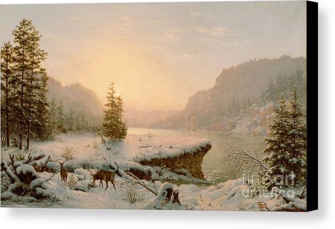 Scene; Remote; American; Landscape; Countryside; Rural; Wilderness; Deer; Animal; Animals; Nature; Snow; Snow-covered; Fir-tree; Fir; Tree; Trees; Firs; Lake; River; Dawn; Dusk; Morning; Evening; Sunrise; Sunset; Atmospheric; Beauty; Beautiful; Spectacular; Majestic; Buck Canvas Print featuring the painting Winter Landscape by Mortimer L Smith