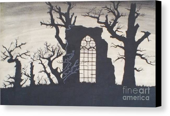 Gothic Canvas Print featuring the drawing Gothic Landscape by Silvie Kendall