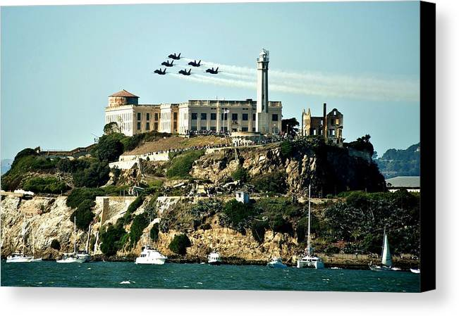 Blue Angels Canvas Print featuring the photograph Alcatraz Blues by Benjamin Yeager