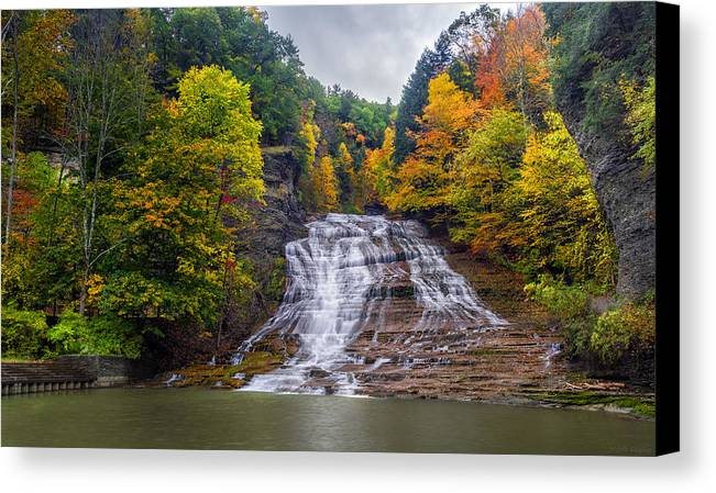 Waterfall Canvas Print featuring the photograph Buttermilk Falls by Mark Papke
