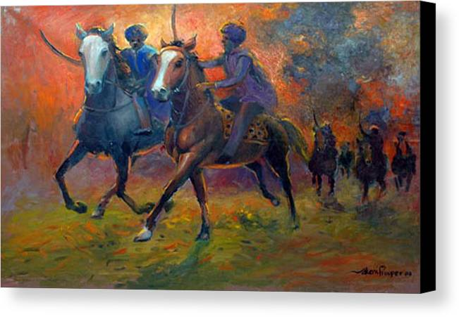 Warrior Canvas Print featuring the painting Men In Defence by Prosper Akeni