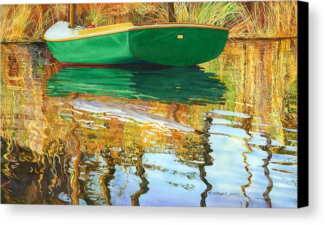 Seacape Canvas Print featuring the painting Moment Of Reflection Xi by Marguerite Chadwick-Juner