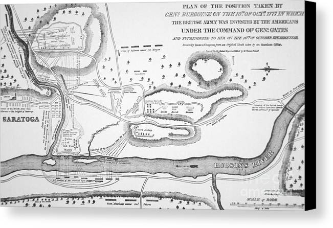 Battle Plan Canvas Print featuring the drawing Plan Of The Battle Of Saratoga October 1777 by American School