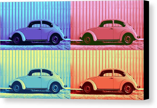 Classic Car Canvas Print featuring the photograph Vw Beetle Pop Art Quad by Laura Fasulo