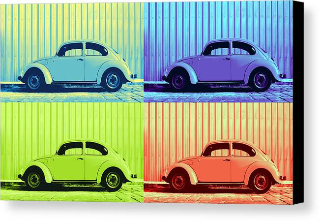Classic Vw Beetle Car Pop Art Colors 4 Four Square Stripes Blue Purple Lime Green Orange Red Series Gallery Collage Fun Happy Bright Vibrant Pastels Color Colorful Colourful Uplifting Sunny Lively Metallic Sheet Metal Wall Lines Rivets Cobblestone Street Art Gift For Classic German Car Pop Art Lover Laura Fasulo Laurarama Samsung Galaxy Phone Case Iphone Cases Canvas Print featuring the photograph Vw Pop Summer by Laura Fasulo