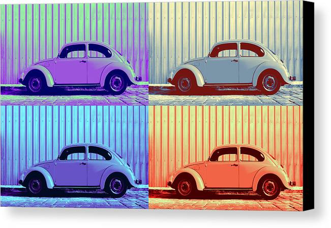 Classic Vw Beetle Car Pop Art Colors 4 Four Square Stripes Blue Purple Lime Green Orange Red Series Gallery Collage Fun Happy Bright Vibrant Pastels Color Colorful Colourful Uplifting Sunny Lively Metallic Sheet Metal Wall Lines Rivets Cobblestone Street Art Gift For Classic German Car Pop Art Lover Laura Fasulo Laurarama Samsung Galaxy Phone Case Iphone Cases Vw Pop Winter Canvas Print featuring the photograph Vw Pop Winter by Laura Fasulo