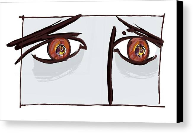 Human Canvas Print featuring the photograph Fearful Eyes, Artwork by Paul Brown