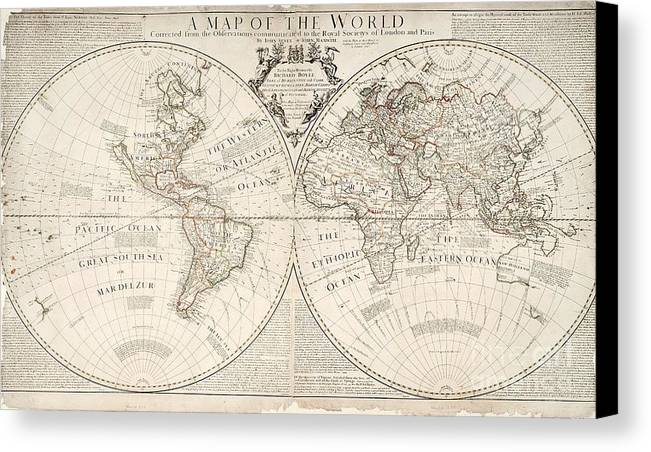Map Canvas Print featuring the painting A Map Of The World by John Senex