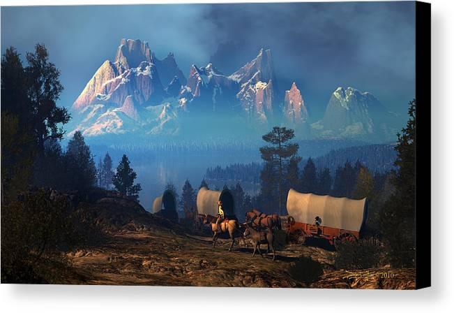 Dieter Carlton Canvas Print featuring the digital art Once But Long Ago by Dieter Carlton