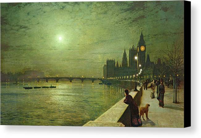 Reflections On The Thames Canvas Print featuring the painting Reflections On The Thames by John Atkinson Grimshaw
