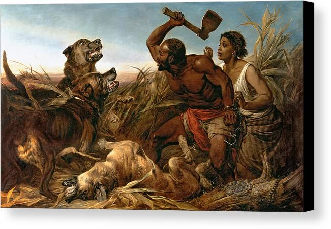 The Hunted Slaves Canvas Print featuring the painting The Hunted Slaves by Richard Ansdell