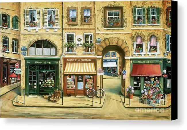 Wine Shop Canvas Print featuring the painting Les Rues De Paris by Marilyn Dunlap