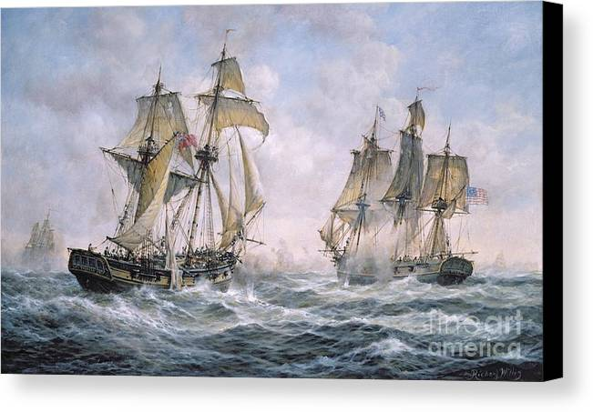 Seascape; Ships; Sail; Sailing; Ship; War; Battle; Battling; United States; Wasp; Brig Of War; Frolic; Sea; Water; Cloud; Clouds; Flag; Flags; Sloop; Action; Wave; Waves Canvas Print featuring the painting Action Between U.s. Sloop-of-war 'wasp' And H.m. Brig-of-war 'frolic' by Richard Willis