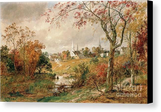 Autumn Landscape Canvas Print featuring the painting Autumn Landscape by Jasper Francis Cropsey