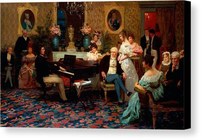 Piano Canvas Print featuring the painting Chopin Playing The Piano In Prince Radziwills Salon by Hendrik Siemiradzki