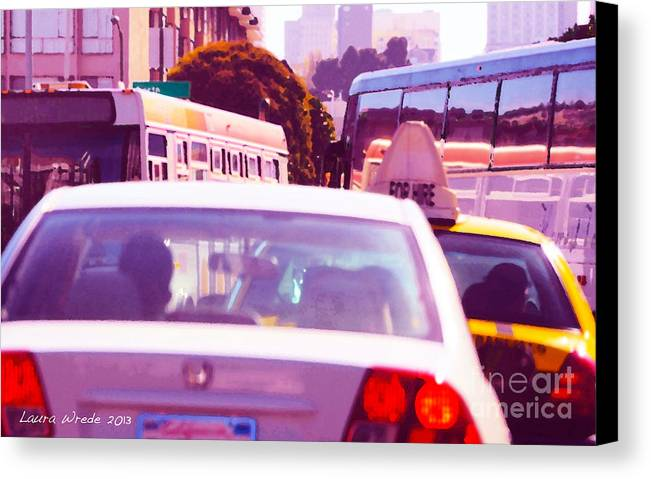 Fuchsia Canvas Print featuring the painting San Francisco Traffic Jam by Artist and Photographer Laura Wrede