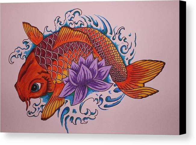 Koi Fish Canvas Print featuring the painting New Beginnings by Kat Starr