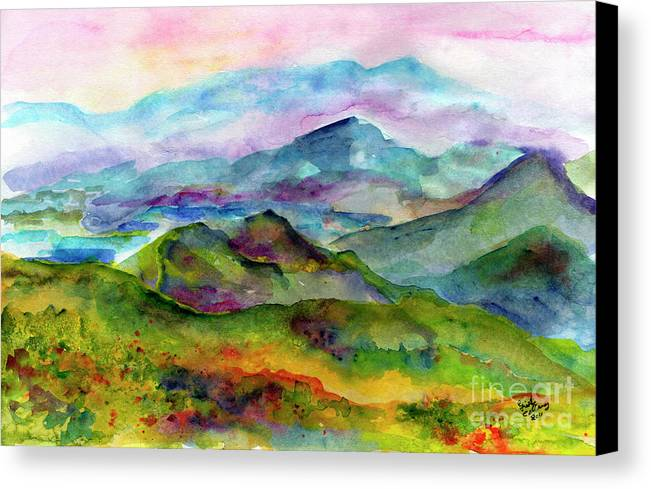 Georgia Canvas Print featuring the painting Blue Ridge Mountains Georgia Landscape Watercolor by Ginette Callaway