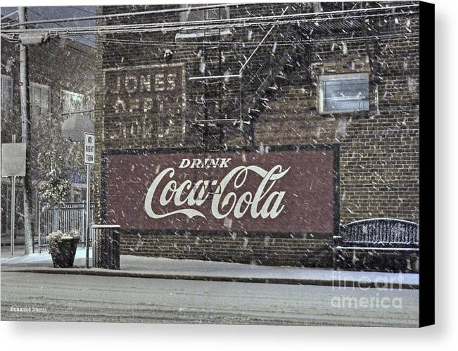 Mebane North Carolina Canvas Print featuring the photograph Downtown Covered In Snow by Benanne Stiens