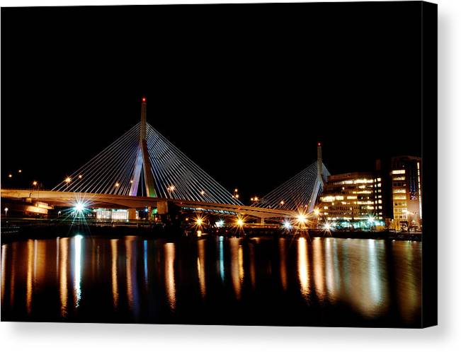 Bridge Canvas Print featuring the digital art Zakim Over The Charles River by Richard Bramante