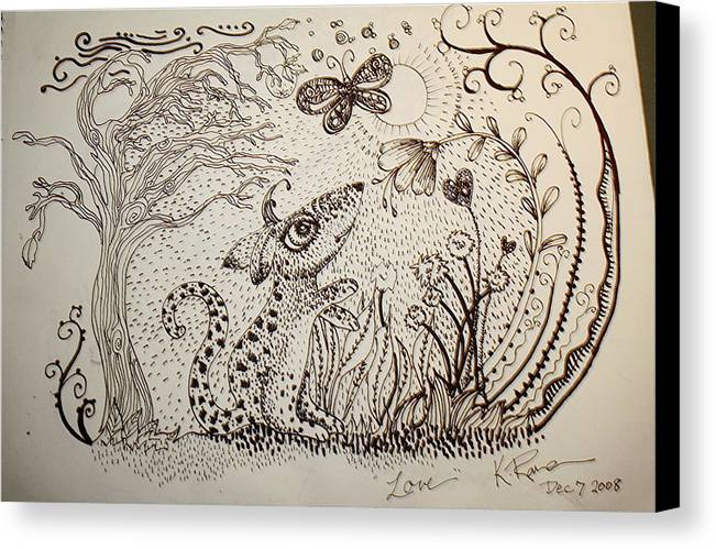 Pen Ink Nature Black White Canvas Print featuring the ceramic art Mouse by Kathleen Raven