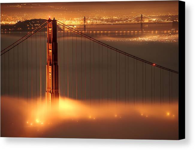 California Canvas Print featuring the photograph Golden Gate On Fire by Francesco Emanuele Carucci