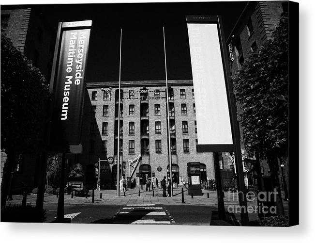 Albert Canvas Print featuring the photograph Entrance To The Albert Dock And Beatles Museum Liverpool Merseyside England Uk by Joe Fox