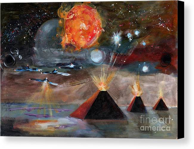 Space Canvas Print featuring the painting Activation by Ginette Callaway