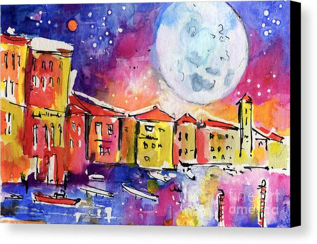 Venice Canvas Print featuring the painting Large Moon Over Venice by Ginette Callaway