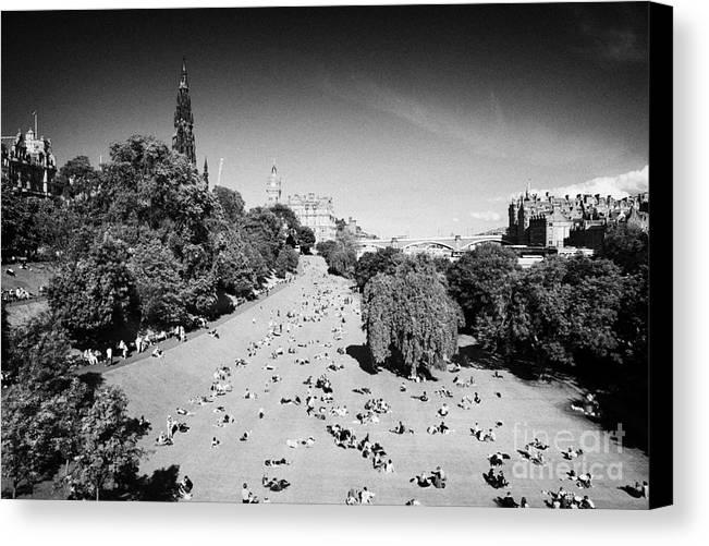 Princes Canvas Print featuring the photograph Princes Street Gardens On A Hot Summers Day In Edinburgh Scotland Uk United Kingdom by Joe Fox