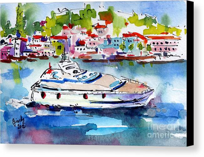 Italy Canvas Print featuring the painting Yachting Off The Coast Of Amalfi Italy Watercolor by Ginette Callaway