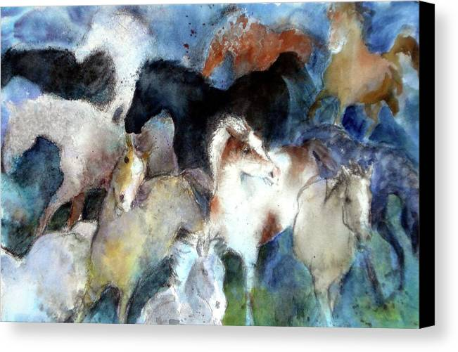 Horses Canvas Print featuring the painting Dream Of Wild Horses by Christie Michelsen