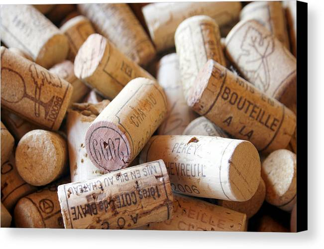 Wine Corks Canvas Print featuring the photograph French Wine Corks by Georgia Fowler