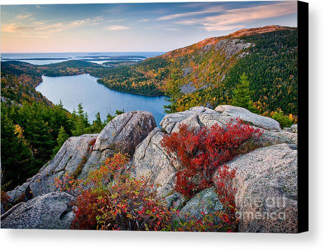 Acadia National Park Canvas Print featuring the photograph Jordan Pond Sunrise by Susan Cole Kelly