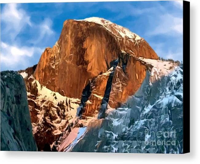 Alpine Canvas Print featuring the painting Painting Half Dome Yosemite N P by Bob and Nadine Johnston