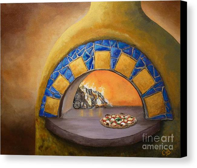 Pizza Canvas Print featuring the painting Wood Fired by Chad Berglund