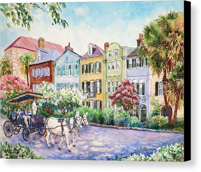 Charleston Canvas Print featuring the painting Assault And Battery On Rainbow Row by Alice Grimsley