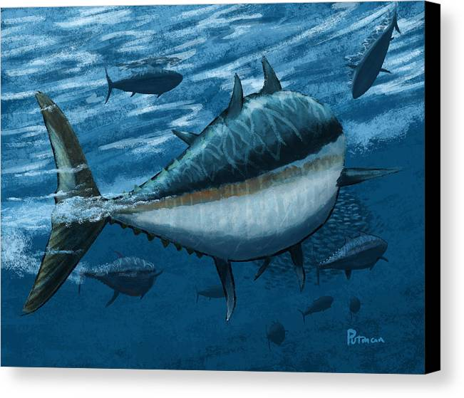 Tuna Canvas Print featuring the digital art The Chase by Kevin Putman