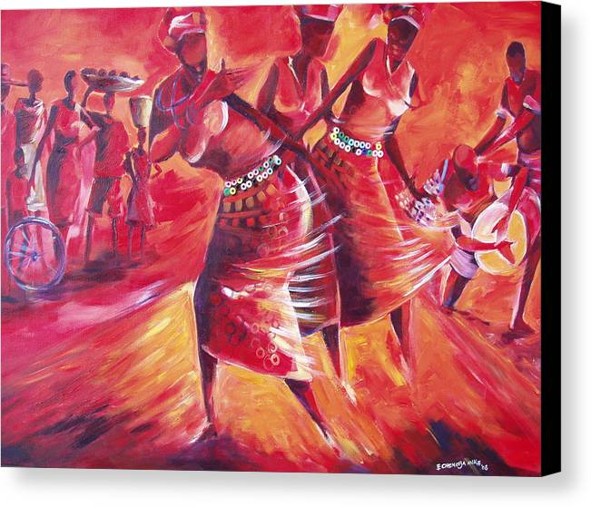 Celebration Canvas Print featuring the painting Celeration by Michael Echekoba