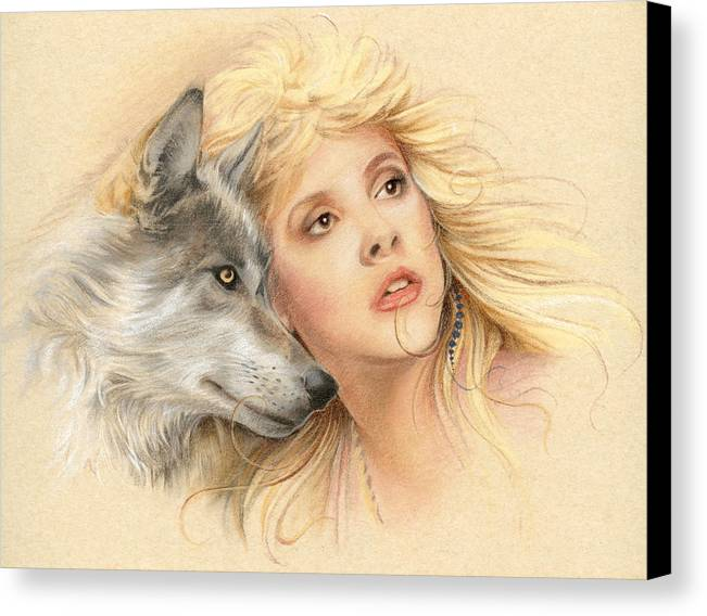 Stevie Nicks Canvas Print featuring the drawing Beauty And The Beast by Johanna Pieterman