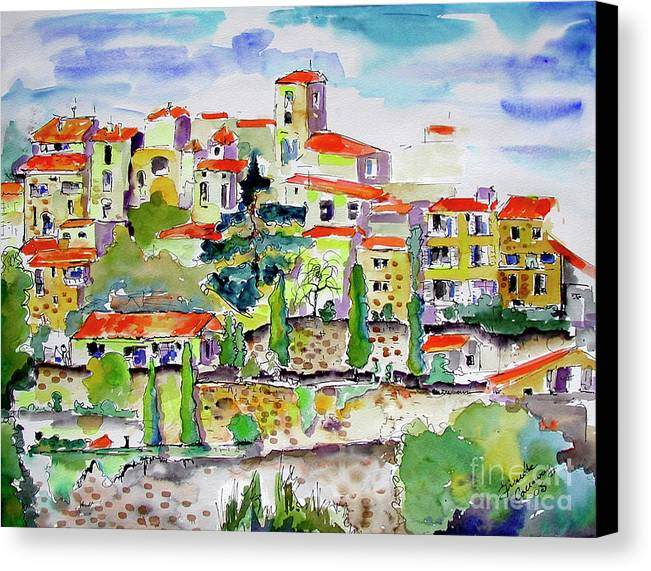 France Canvas Print featuring the painting Hillside Village In Provence by Ginette Callaway