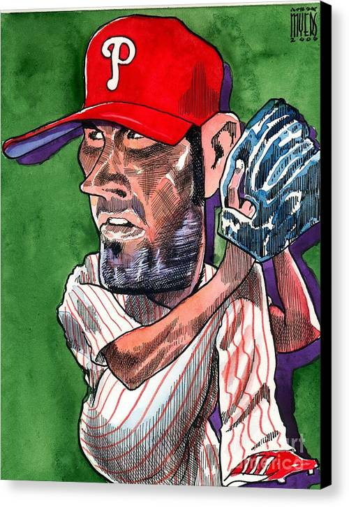 Phillies Canvas Print featuring the painting World Series Mvp by Robert Myers