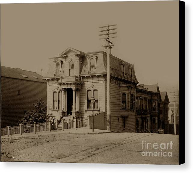 Clay Canvas Print featuring the photograph Clay And Hyde Street's San Francisco Built In 1874 Burned In The 1906 Fire by California Views Mr Pat Hathaway Archives