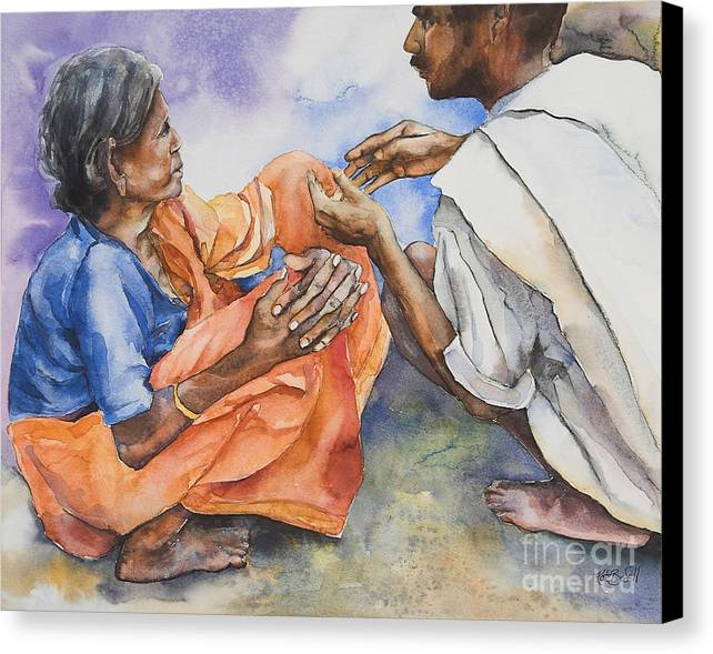 Indian Canvas Print featuring the painting Old Hands by Kate Bedell
