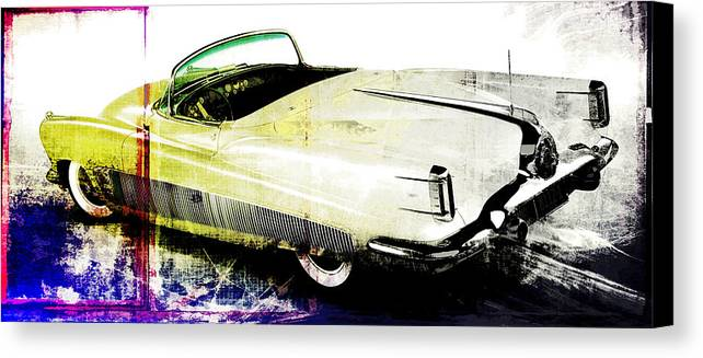 Vintage Canvas Print featuring the digital art Grunge Retro Car by David Ridley